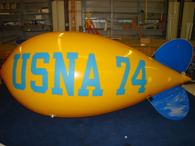 mascot blimp - advertising blimp with college logo
